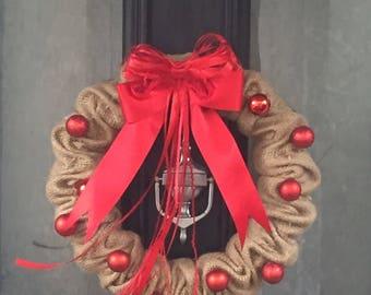 Christmas Wreath, Christmas Front Door Wreath, Rustic Burlap Wreath, Hessian Wreath,  Holiday Door Wreath, Red Bow Wreath