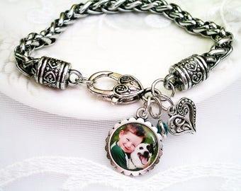 Photo Bracelet, Gift for Mom, Picture Bracelet, Grandmom Bracelet Picture Charm Birthstone Bracelet Photo Charm Bracelet Mothers Day Gift