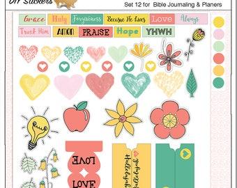 2 Dollar Sale! DIY Bible Journaling Stickers, PDF,  Wordart, Flowers, Light Bulb, Apple, Water Color Hearts. Print on Sticker Paper