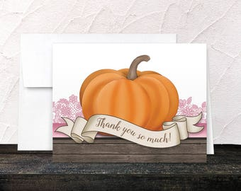 Pumpkin Thank You Cards Autumn - Rustic Wood Orange Pink and Brown for Fall - Printed Cards