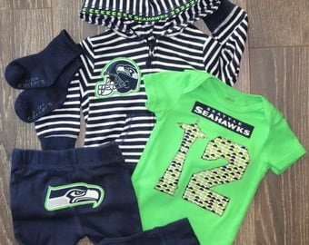 6M Seahawks outfit - 4 piece - Ready to mail!