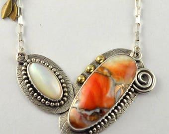 Stone Necklace - Artisan Jewelry - Metalsmith Necklace - Oxidized Necklace