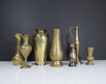 Mismatched Brass Vases Set // Vintage Lot of 7 Assorted Rustic Brass Bud Vases Bohemian Wedding Decorations Mid Century Retro Modern Decor