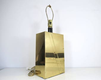 Modern Brass Table Lamp // Hollywood Regency Mid Century Modern Contemporary Gold Metal Lamp Rectangular Geometric Stripe Glam Metallic