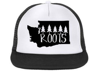 Washington State Roots Trucker Hat {black} Child -Adult Size