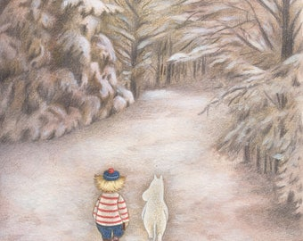 Moomin and Too-Ticky Art Print, Moomin Fan Art