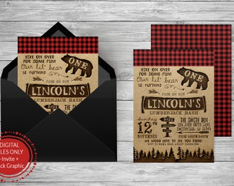 Lumberjack Birthday Invitation/Red Plaid/Green Plaid/First Birthday/Rustic/Forest Invite