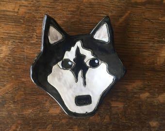 "SPOON REST Stoneware Husky Dog ""Go Huskies"" Handmade"