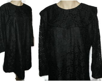 Vintage 1960s Dress Black Lace A Line Mod Dress Taffeta Lace Dress Large Shawl Collar XL chest + hips to 45 inches