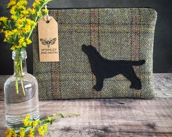 Labrador on British Tweed Make-up Bag