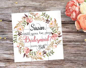 Will You Be My Bridesmaid Puzzle Invitation Will You Be My Flower Girl Proposal Gift Ask Bridesmaid Will You be my Maid of Honor Invitation