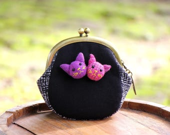 Cat coin purse, Metal frame coin purse