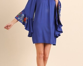 Bohemian Nights Embroidered Bell Sleeve Dress