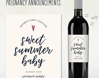 Custom Wine Label - Pregnancy Announcement! (Personalized) SWEET SUMMER BABY