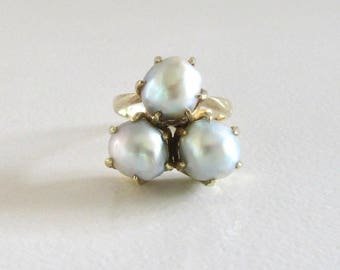 Yellow Gold Baroque Pearl Ring, Pearl Ring, Vintage Pearl Ring, Vintage Baroque Pearl Ring, Birthstone Ring, June Birthstone Ring