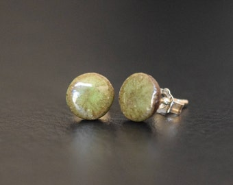 Green Ceramic Stud Earrings with Sterling Silver Posts