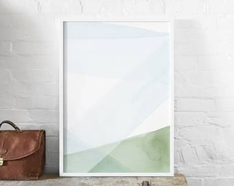 Blue and Green Abstract A1 Art Print, Watercolour Strokes, Abstract Landscape Poster, Minimalist Art, Light Modern Abstract Art, Wall Decor