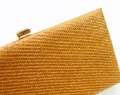 Vintage Woven Clutch Purse / Toasted Caramel Evening Bag / Vintage Raffia Purse with Gold Frame / Caramel Latte Clutch