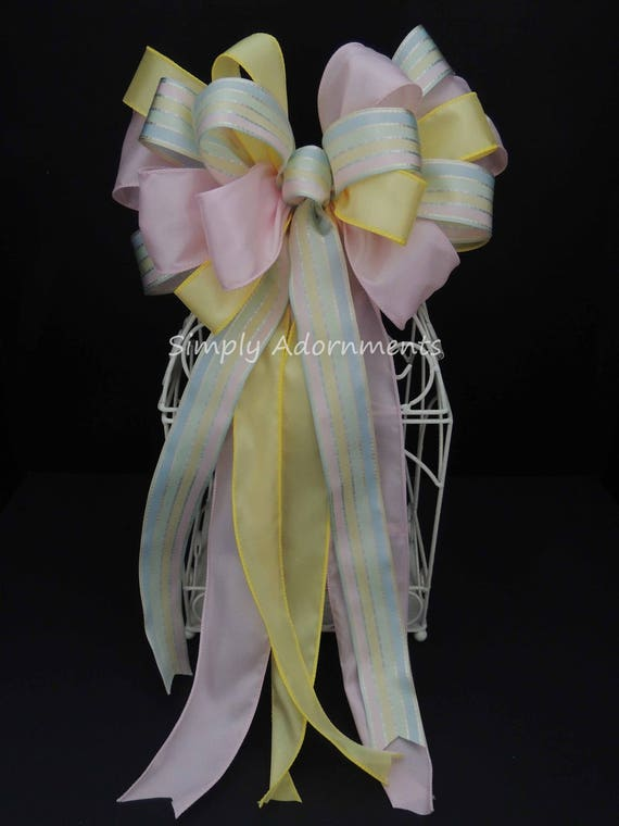 Light Pink Yellow Baby Shower bow Pastel Spring Wreath bow Pastel 1st Birthday Party Decor Easter Wreath Bow Pastel Newborn Door hanger bow