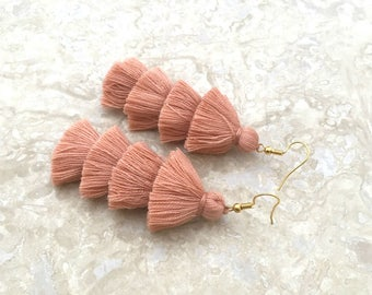 "Bronze Four Tiered Tassel Earrings Layered  Tassle Earrings Summer Jewelry 3"" Tassel Earrings Lightweight Summer Cotton Tassels"