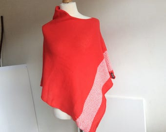 Knit Womans light wool Poncho . Coral Poncho Wrap with fashionable fair isle detail. Warm and Light Cape Coat. Spring holidays cover up.