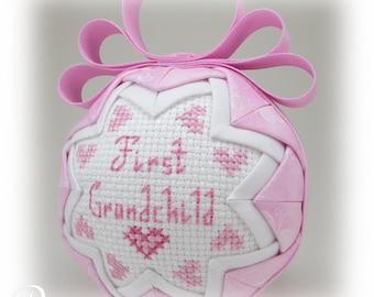 Grandchild Ornament - Quilted Ornament - First Grandchild - Granddaughter Ornament