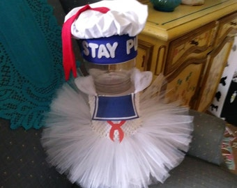 Ghostbusters Stay Puft Marshmallow Man Tutu Dress and Hat Halloween Costume