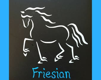 Friesian Horse Car Decal, Equine Design by Sandra Beaulieu, Draft, Equine Decal, Horse Bumper Sticker, Horse Holiday Gift, Feathered Horse