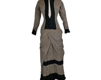 Antique Victorian 1870s 1880s Dress // Stripes // Day // Jacket // Skirt // Bustle // S // Wearable