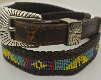 vtg Beaded Western Belt DOS AMIGOS sz 28 70 seed beads laced leather