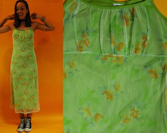 1980s / 90s Lime Green Mesh Floral Long Dress