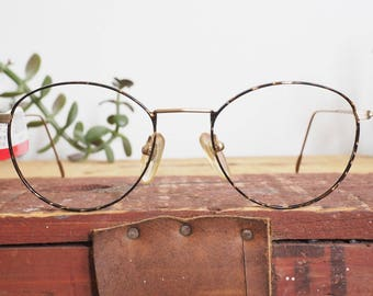 Vintage Eyeglass 1990's Wire Rim By Advantage Eyewear Glasses New old Stock Frames Brown And Gold