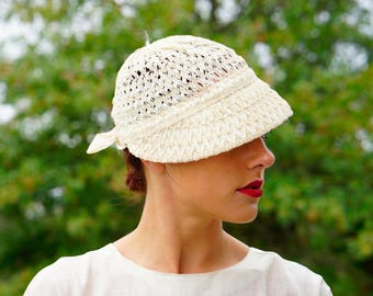 Vintage Sunbonnet Hat, Straw and Ribbon Hat, Vintage Hat, Vintage Womens Hat, Vintage Millinery, 1950s Hat, Vintage Sun Hat, Bonnet Hat