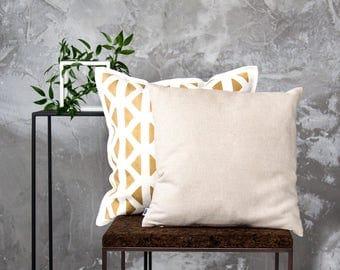 Christmas oatmeal linen pillow cover for decorative pillows, custom size linen pillowcase, throw pillow. Natural Holiday decor.