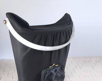 Vintage 50s black bucket purse/ Lucite handle/ cocktail purse/ gold rivets/ structured bag/ box purse/ 1950s formal purse