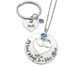 Personalized My Heart Belongs To A Police Officer - Engraved Jewlery - Police Man - Trooper - Highway Patrol Officer - Cop Wife - 1110