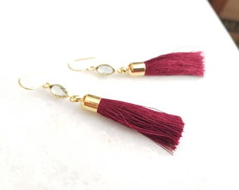 Tassel Earrings, Wine Red earrings