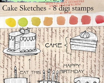 Cake Sketches - 8 digi stamp bundle available for instant downlaod