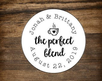 """Favor labels, 2"""" round, set of 20.  The Perfect Blend, personalized stickers. White or Kraft brown. Bridal shower, wedding favor sticker."""