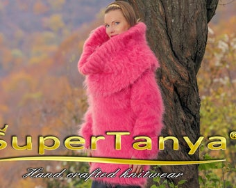 Fuzzy candy pink mohair sweater dress by SuperTanya