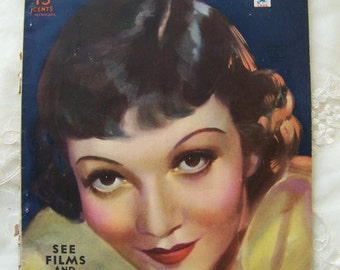 Vintage Picture Play Magazine with Claudette Colbert on the Cover 1935.Old Hollywood Glamour.Gloria Swanson.Ginger Rogers,Joan Crawford.