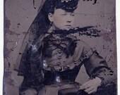 Tintype Circa 1890 Faraway Look, Mourning Hat