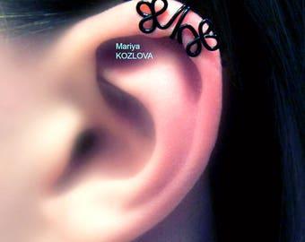 No Piercing Black Helix Ear Manchette Celtic Clover Shamrocks/helix cartilage ear cuff/piercing imitation/fake faux false piercing/ohrclip