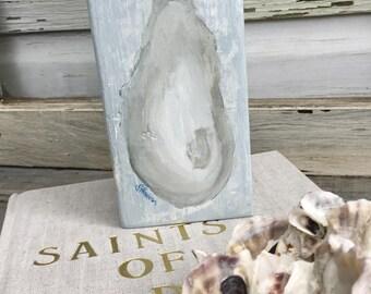 Oyster Shell Art Painting/Coastal Wood Art/Beach House Decor/Seashell Beach Art