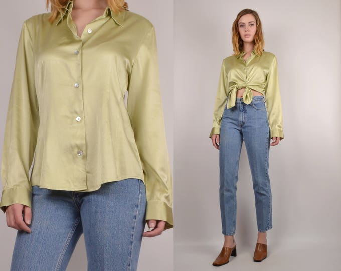 20% OFF  SALE Vintage Green Silk Button Up Shirt
