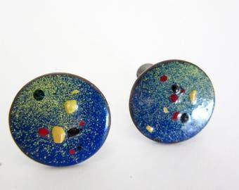 60s Enamel Screwback Earrings - Copper - 50s Round Earrings - Abtract Design