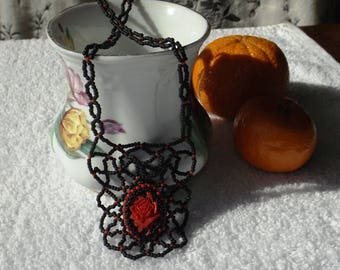 Red Rose Cameo Handmade Beaded Glass Weblace Necklace