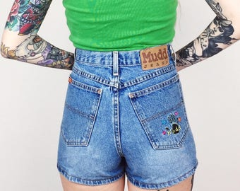 Retro Embroidered Mudd Jeans High Waisted Denim Shorts // Women's size 27 28 Medium M