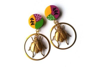 Beetle Cicada Bug Hoop Earings Boho Brass Insect Hoops Festival Jewellery FREE UK SHIPPING