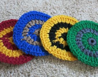 Hogwarts Houses Crochet Coasters (set of 4)